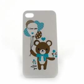 Coque blanche ourson pour Iphone 4 + film protection ecran
