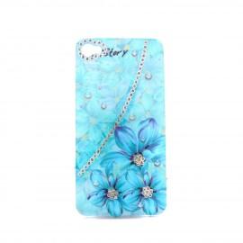 Coque brillante fleurs bleues avec strass diamants incrustes pour Iphone 4 + film protection ecran