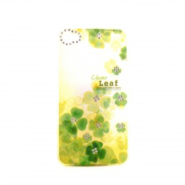 Coque brillante fleurs vertes avec strass diamants incrustes pour Iphone 4 + film protection ecran