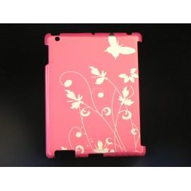 Coque Etui fleurs papillons argents Ipad 2 + film protection ecran offert