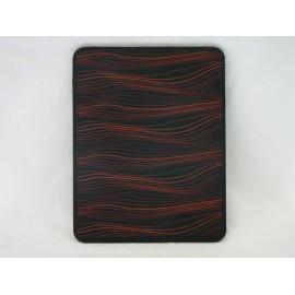 Coque Etui souple en silicone noir a vague orange pour Ipad 1 + film protection ecran offert