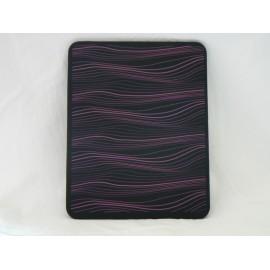 Coque Etui souple en silicone noir a vague rose pour Ipad 1 + film protection ecran offert