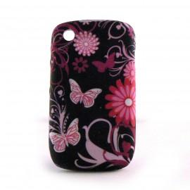 Coque silicone fleurs et papillons roses sur fond noir pour Blackberry 8520 curve+ film protection ecran offert