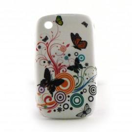 Coque silicone avec papillons noirs sur fond blanc pour Blackberry 8520 curve+ film protection ecran offert