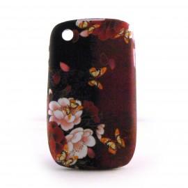Coque silicone fleurs et papillons sur fond rouge pour Blackberry 8520 curve+ film protection ecran offert