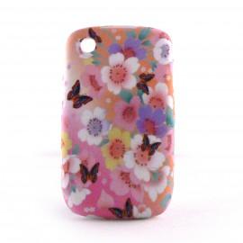 Coque silicone fleurs et papillons sur fond rose pour Blackberry 8520 curve+ film protection ecran offert