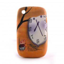 Coque silicone horloge et petit cochon pour Blackberry 8520 curve+ film protection ecran offert