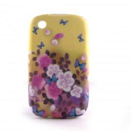 Coque silicone avec fleurs sur fond beige pour Blackberry 8520 curve+ film protection ecran offert