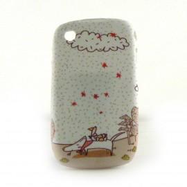 Coque silicone petit chien et un oiseau  Blackberry 8520 curve+ film protection ecran offert