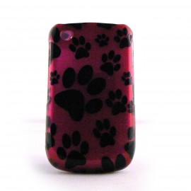 Coque semi-integrale rose patte de chat Blackberry 8520 curve+ film protection ecran offert
