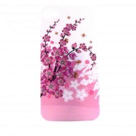 Coque blanche et brillante avec des petite fleurs roses pour Iphone 4 + film protection ecran