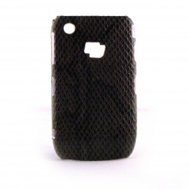 Coque rigide et brillante peau de serpent marron pour Blackberry 8520 Curve + film protection ecran offert