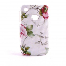 Coque mate motif fleur rose fond blanc Blackberry 8520 Curve + film protection ecran offert