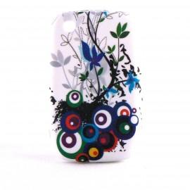 Coque silicone avec des cercles multicolores Blackberry 8520 Curve+ film protection ecran offert