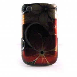 Coque integrale brillante fleur rouge pour Blackberry 8520 Curve+ film protection ecran offert