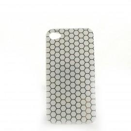 Coque brillante motif nids d'abeille argent pour Iphone 4 + film protection ecran