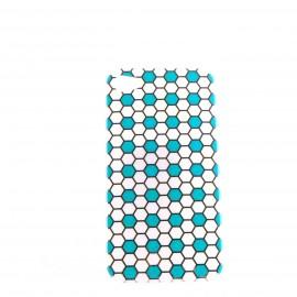 Coque brillante motif nids d'abeille argent + couleurs pour Iphone 4 + film protection ecran