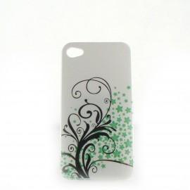 Coque brillante motif feuilles argents + couleurs pour Iphone 4 + film protection ecran