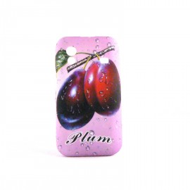 Coque silicone rose fruits prunes pour Samsung S5830 Galaxy Ace + film protection ecran offert