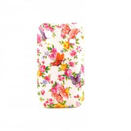 Coque silicone fleurs et papillons multicolores pour Samsung S5830 Galaxy Ace + film protection ecran offert