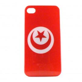 Coque rigide drapeau Tunisie pour Iphone 4  + film protection écran offert