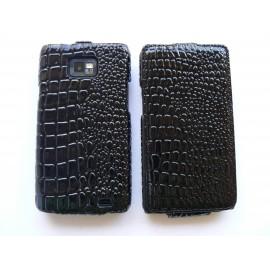 Pochette étui à clapet imitation crocodile pour Samsung I9100 Galaxy S2 + film protection écran