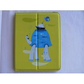 Etui pochette Ipad 2 IUVO verte motif tortue bleue + film protection écran