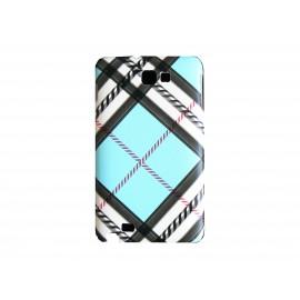 Coque mate à carreaux bleus pour Samsung Galaxy Note I9220/N7000  + film protection écran offert