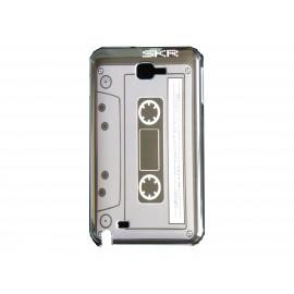Coque brillante apparence cassette grise pour Samsung Galaxy Note I9220/N7000  + film protection écran offert
