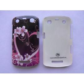 Coque Blackberry Curve 9350/9360/9370  noire fleurs roses+ film protection écran offert