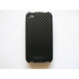 Pochette Iphone 4 noire effet carbone + film protection écran