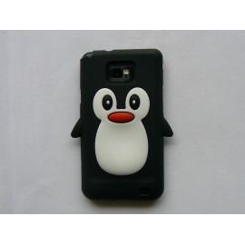 Coque silicone  motif pingouin noir pour  Samsung I9100 Galaxy S2 + film protection écran offert