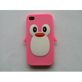 Coque Iphone 4 en silicone rose motif pingouin + film protection écran offert