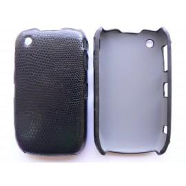 Coque Blackberry 8520 Curve simili-cuir noir peau de serpent + film protection écran offert