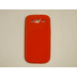 Coque Galaxy S3 I9300 semi-rigide glossy rouge + film protection ecran offert