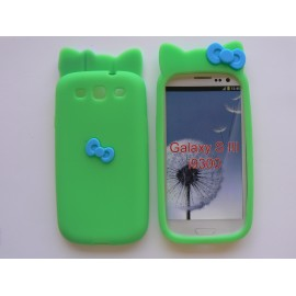 Coque Samsung Galaxy S3 / I9300 silicone verte noeud papillon + film protection écran offert