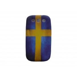 Coque pour Samsung I9300 Galaxy S3 silicone vintage drapeau Suède  + film protection écran offert