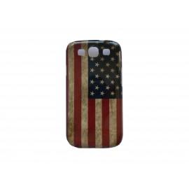Coque pour Samsung I9300 Galaxy S3 rigide vintage drapeau USA/Etats-Unis  + film protection écran offert