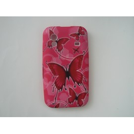 Coque Samsung S5830 Galaxy Ace silicone rose papillons rouges + film protection écran offert