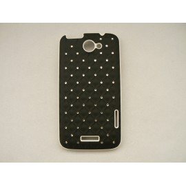 Coque HTC one X mate noire strass diamants + film protection écran offert