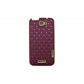 Coque HTC one X mate violette strass diamants + film protection écran offert