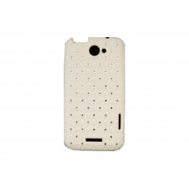 Coque HTC one X mate blanche strass diamants + film protection écran offert
