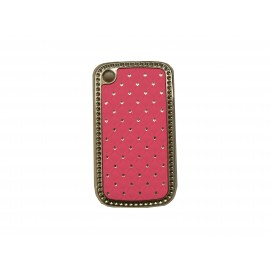 Coque Blackberry 8520 curve rose strass diamants + film protection ecran offert