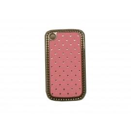 Coque Blackberry 8520 curve rose clair strass diamants + film protection ecran offert