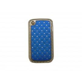 Coque Blackberry 8520 curve bleue strass diamants + film protection ecran offert