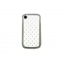 Coque Blackberry 8520 curve blanche strass diamants + film protection ecran offert