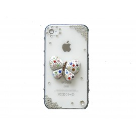 Coque brillante motif papillon strass diamants et couleurs pour Iphone 4 + film protection ecran