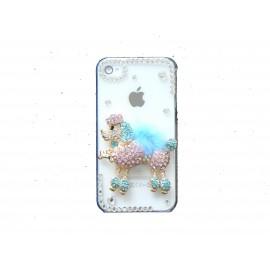 Coque brillante motif caniche bleu turquoise strass diamants et couleurs pour Iphone 4 + film protection ecran