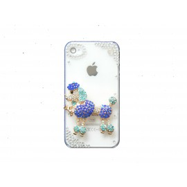 Coque brillante motif caniche bleu strass diamants et couleurs pour Iphone 4 + film protection ecran