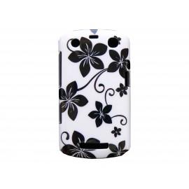 Coque pour Blackberry Curve 9350/9360/9370 blanche fleurs noires + film protection écran offert